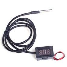 Цифровой термометр DS18B20 Водонепроницаемый датчик температуры Измеритель IC тестер светодиодный дисплей DC4-28V-55~ 125 градусов Цельсия 0,36 дюйма красный