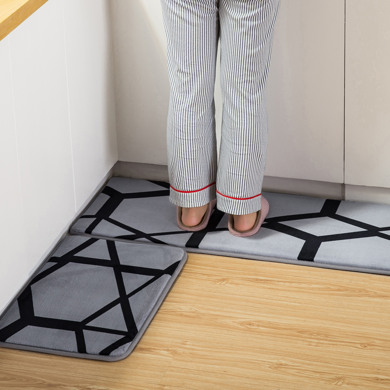 Us 16 49 45 Off Honlaker Stylish Geometric Pattern Kitchen Mat Oil Absorbing Non Slip Rug Absorbent Floor 2 Pieces Set In