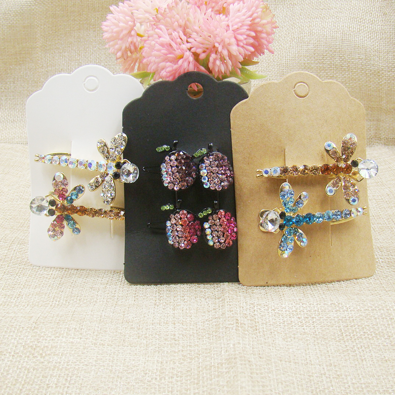 200pcs Hair Charm Display Packaging Card Kraft/white Black Color Hair Clip Hair Claws Hairgrips Hanging Paper Display Cards