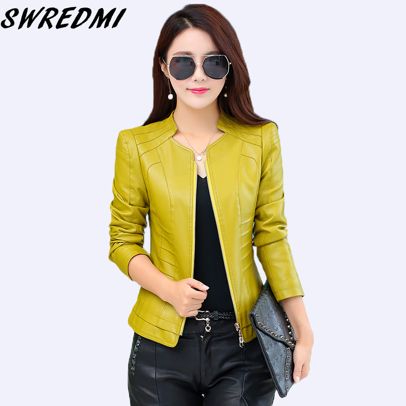 SWREDMI Spring And Autumn High Street Fashion   Leather   Jacket Women Short   Leather   Feminino Casaco Slim Casual Plus Size Tops Coat