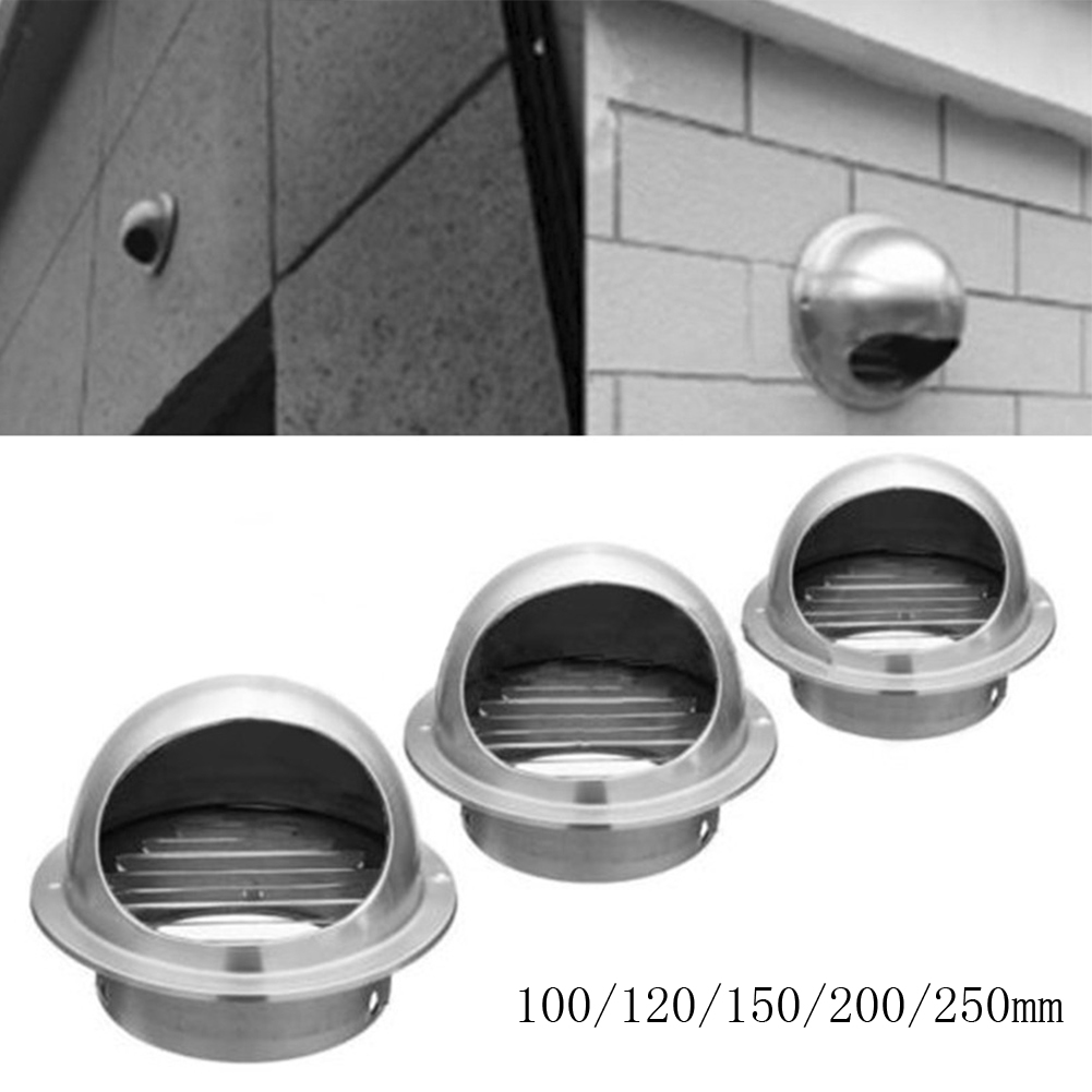 Stainless Steel Exhaust Hood 100/120/150/200/250mm, Hood External Wall Vent Cap Ventilation Cap Air Ventilation Ventilation Fan