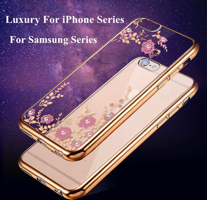 Fashion Rhinestone Soft Cover Case For iPhone 8 X Ten 10 6 6S 7 Plus 5 5S SE 4 4S Phone Protector Shell Butterfly Coque Fundas ...