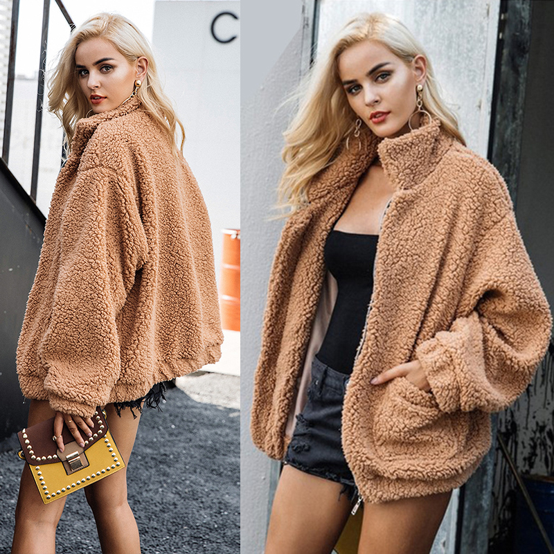 Artificial short plush women   basic     jacket   new loose warm plush outwear fashion causal autumn winter fur women coat 2018 NLD1167