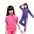 Outono feminino de moda de nova 2015 cuhk crianças de lazer ternos adolescente meninas zipper casaco de duas peças roupa