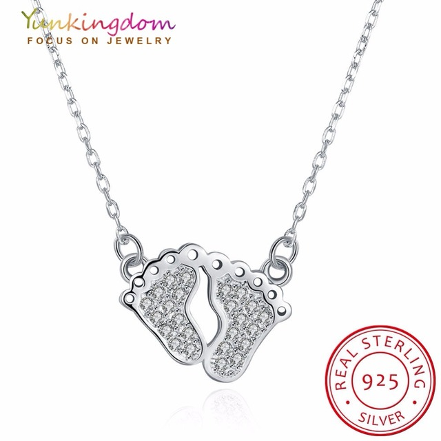Yunkingdom real 925 sterling silver necklaces feet design pendants yunkingdom real 925 sterling silver necklaces feet design pendants chains necklace women chain kids girls custom mozeypictures Gallery