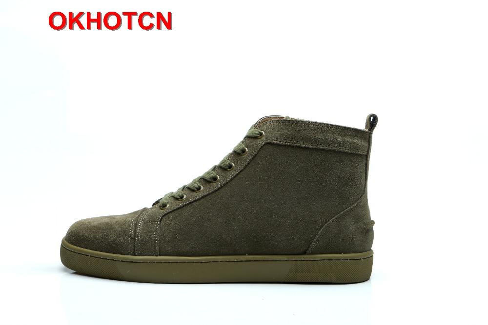 Lace Up Leather High Top Sneakers For Men Solid Army Green Luxury Shoes Breathable Suede Men'S Flats Men Casual Shoes Big Size mint green casual sleeveless hooded top