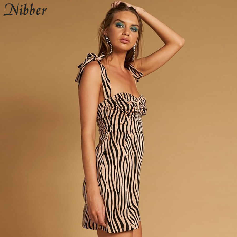 Nibber women sexy bow sling striped mini dress 2019 spring summer new French Romantic Club Party Dress ladies Street casual wear