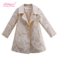 Pettigirl Boutique Print Floral Worsted Coat for Girls Vintage Style Kids Outerwear Turn-Down Collar Girls Jackets OC81024-123Z
