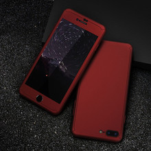 iPhone Case with Tempered Glass Film Lens Case for iPhone 6 S 7 Plus 3 in 1 Hybrid Hard Shell Full Cover for iPhone 6 6 S 7 Coque