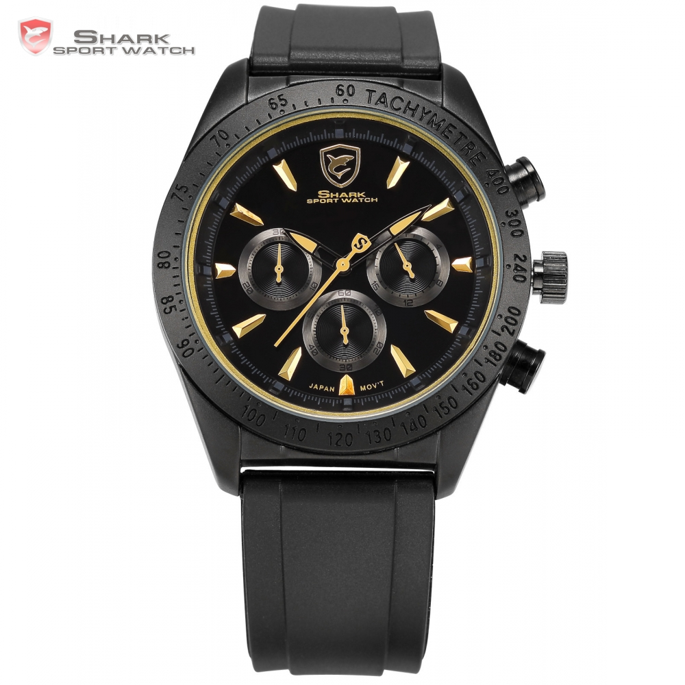 Tiger Shark Sport Watch Chronograph Bezel Black Yellow Silicone Strap Relogio Clock Military Wrist Men Quartz Watch Gift /SH236 frilled shark sport watch relogio black chronograph stopwatch 3 dial leather strap clock quartz military men wrist watch sh225