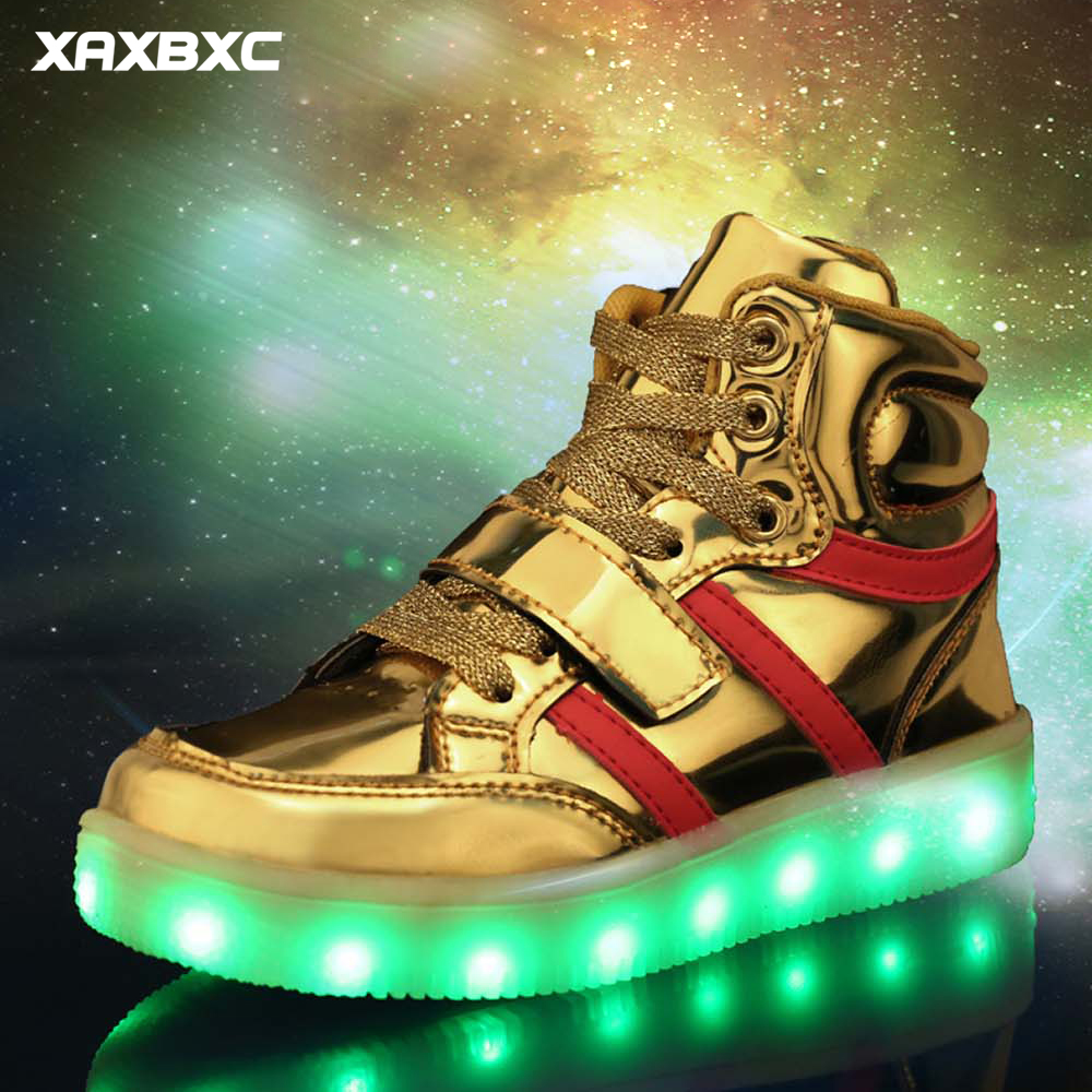 2018 NEW High Top sneaker Lighted Children Sneakers Boys Girls USB Rechargeable LED Glowing Shoes Kids Luminous Casual Shoes new boys children luminous shoes sneakers with lighted led casual girls glowing sneakers kids shoes