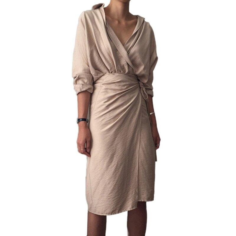 Été femmes élégantes manches longues robe en lin 2 PC ensembles col en v bureau dame crayon Slim robes irrégulière Wrap robe