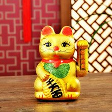 Electric Lucky Cat Ceramic Gold Ornaments Commercial Opening Decoration Gifts 7 inches/18cm no battery