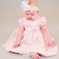 Fashion Infant Dress Cute A Line Draped Ruffle Pink Lace Appliques Flower Girl Tutu Dress Birthday