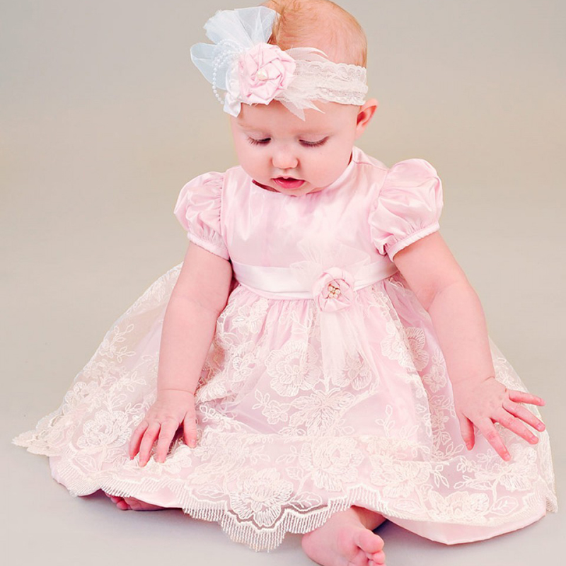With Headband Baby Girl Christening Dresses A-line Ruffle Pink Lace Appliques Hot Baby Girl Birthday Homecoming Infant Vestidos платье для девочек avito baby baby girl vestidos 2014112524