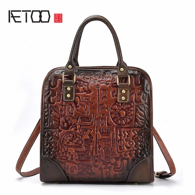 AETOO nouveau rétro cuir femme Baotou couche vachette décontracté unique épaule oblique sac croisé mode sac vertical