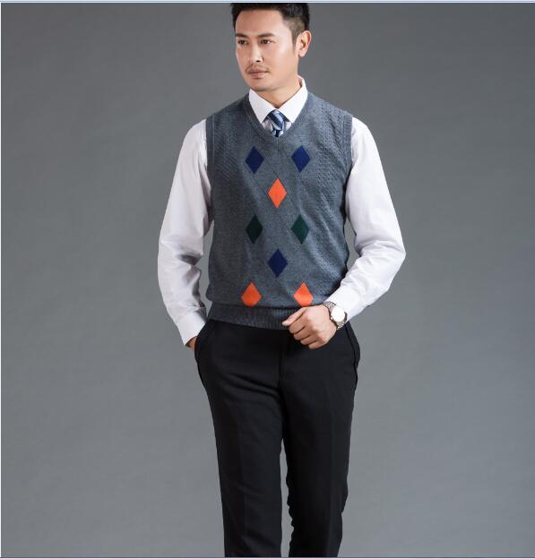 2016 Neue Herbst Winter Warme Kaschmir-pullover Weste Männer Klassische Sleeveless Argyle Muster Pullover Pullover