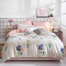 Papa&Mima Purple flower print bedding set Sanded Cotton Queen King size flat sheet pillowcases duvet cover sets Dropshipping