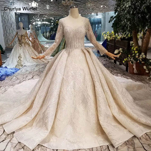 new collection best wholesaler beauty HTL097 luxury wedding dress with long train lace sequined shiny handmade  wedding gown long sleeves European and American models