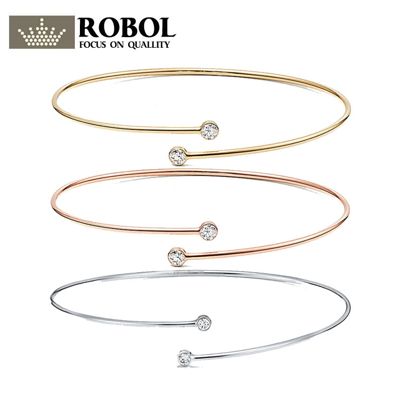 ROBOL S925 Pure Silver TIFFDouble round head Shape CZ Bracelet Has Official Logo Wedding Banquet Elegant Female Women JewelryROBOL S925 Pure Silver TIFFDouble round head Shape CZ Bracelet Has Official Logo Wedding Banquet Elegant Female Women Jewelry