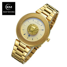 Lion head watch woman rose gold watch KEEP MOVING women top famous Brand Luxury Casual Quartz Watch relogio feminino