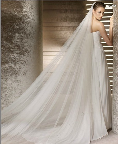 Wedding Bridal 3 Meters Long 2 Layers Veil With Comb Ivory White