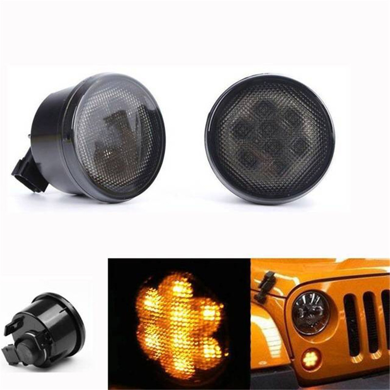 Car Led Light 3000K Front Turn Signal LED Fender Recon Smoked Grille Amber Light For Jeep Wrangler JK 07-16 Kit for jeep wrangler jk anti rust hard steel front