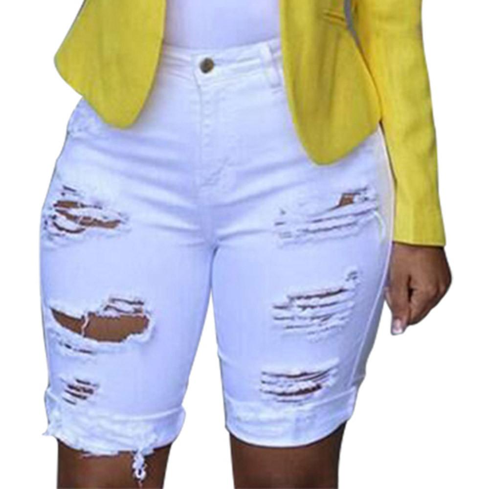 Jeans Woman Elastic Destroyed Hole Jeans Mujer Leggings Plus Short Pants Denim Shorts Ripped Jeans 2018 Hot Sale C0401
