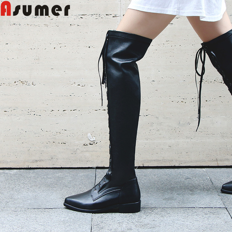 ASUMER Shoes Boots Women Over-The-Knee-Boots Low-Heels Pointed-Toe Big-Size Genuine-Leather
