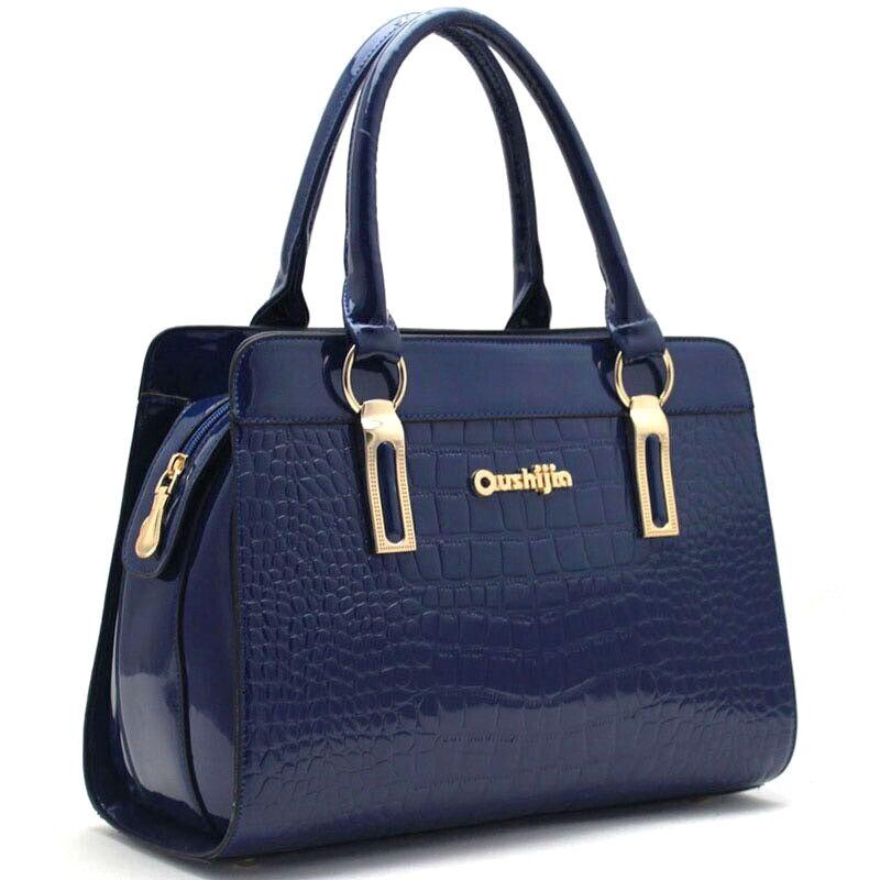 Stylish Patent Leather Women Hand Bag Luxury Crocodile Print PU font b Handbag b font Ladies