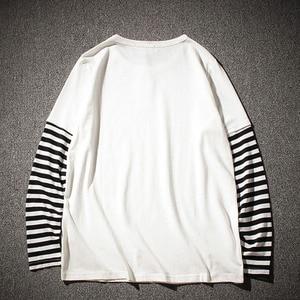 Image 2 - Hip Hop Long Sleeve T shirts Men O neck Striped Patchwork T Shirt Men Fashion Casual Comfortable T Shirts Men Spring Autumn