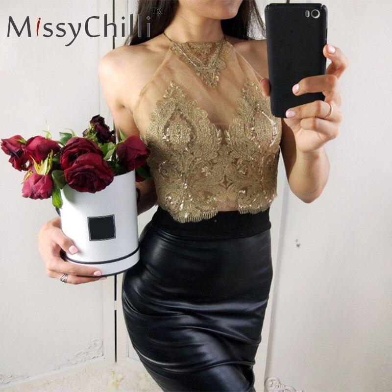 MissyChilli Sexy halter mesh autumn   tank     top   Off shoulder bronzing short women   tops   Backless floral embroidery golden crop   tops