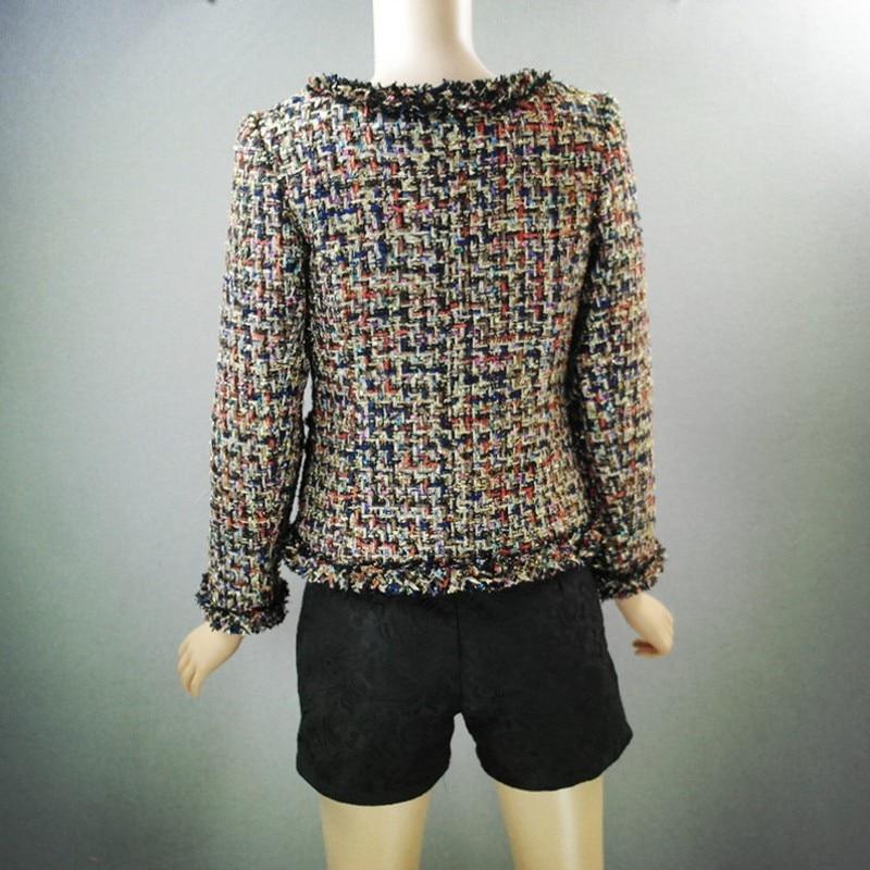 Top Brand 2019 Nieuwe Mode Vrouwen Tweed Korte Jas Slim Fit Twill Getrimd Vrouwelijke Uitloper Jas Formele Partij Elegante Dame jassen - 5