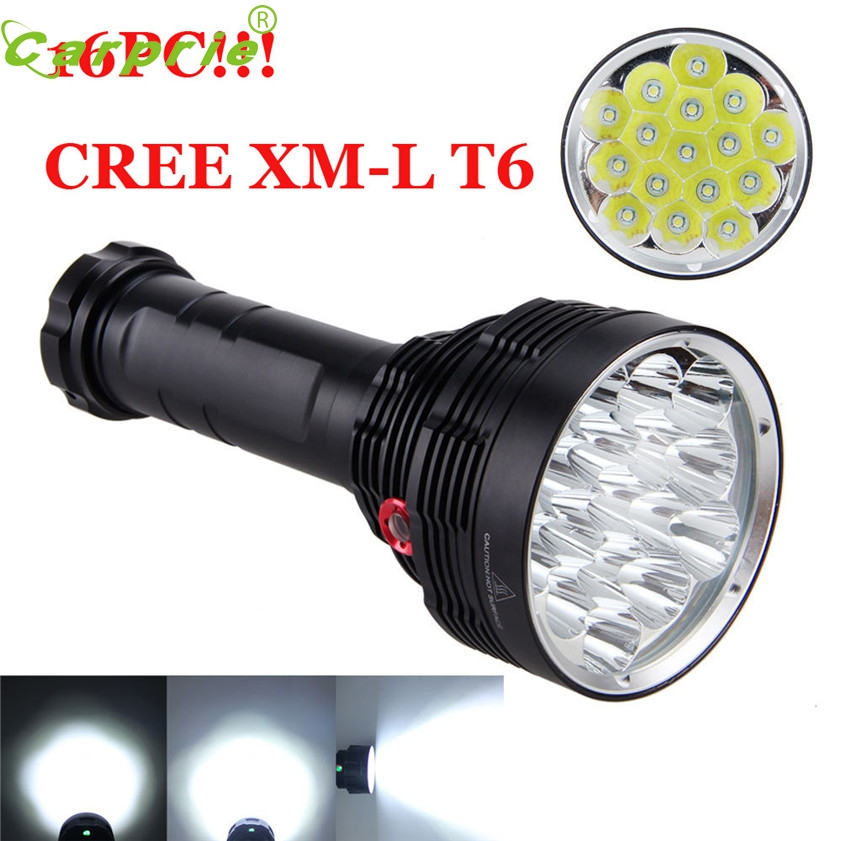 Super 38000LM 16x XM-L T6 LED Flashlight 3 Mode Torch Light Lamp Waterproof 170128 3800 lumens cree xm l t6 5 modes led tactical flashlight torch waterproof lamp torch hunting flash light lantern for camping z93