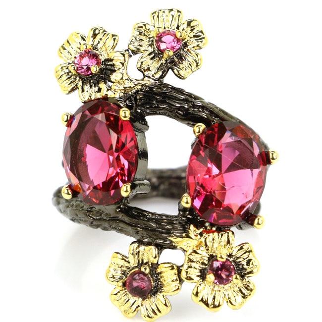 6.0# Vintage Pink Raspberry Rhodolite Garnet Black Gold 925 Silver Ring 30x20mm