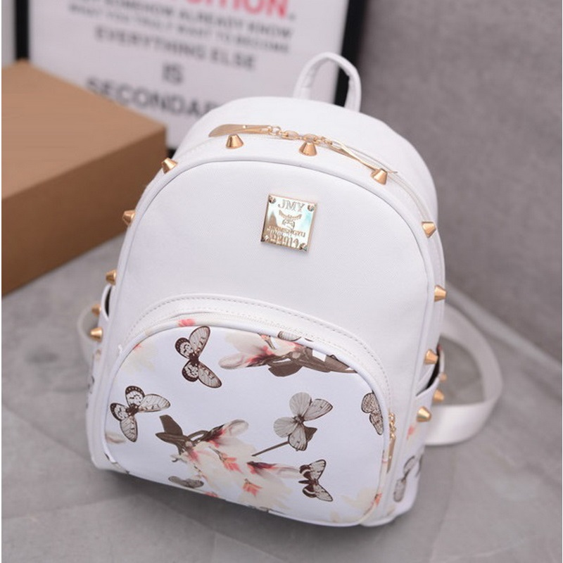 Butterfly Printing Small Korean Backpack Women Leather Backpack White Pretty Style School Bag