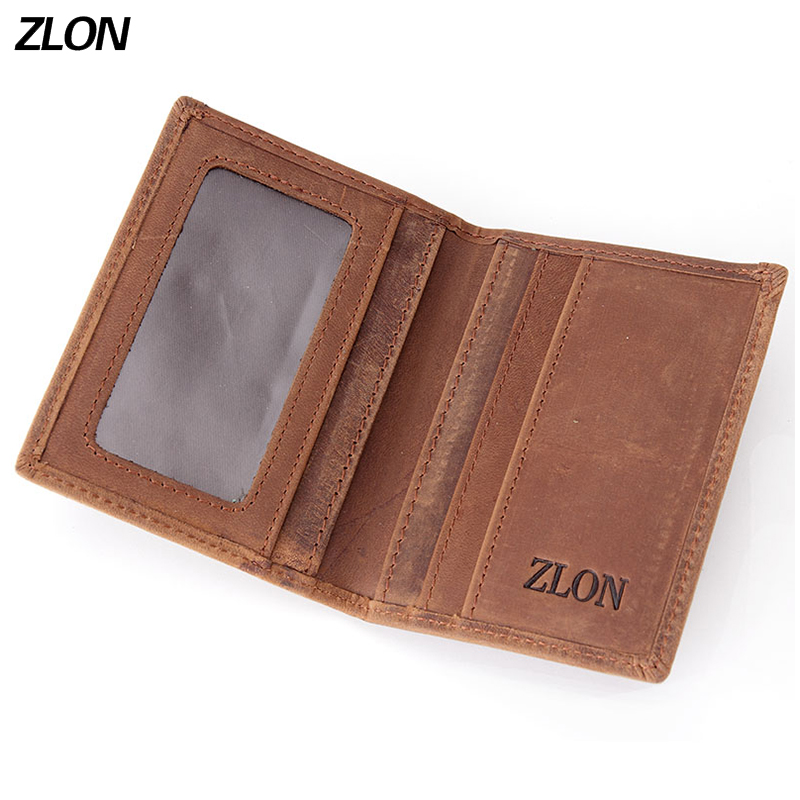 ZLON TOP Men's Crazy Horse Genuine Leather Slim Wallet Business Casual Credit Card ID Holder Money Card Holder Purse K100 leather slim credit card holder id card case holder useful purse with neck strap