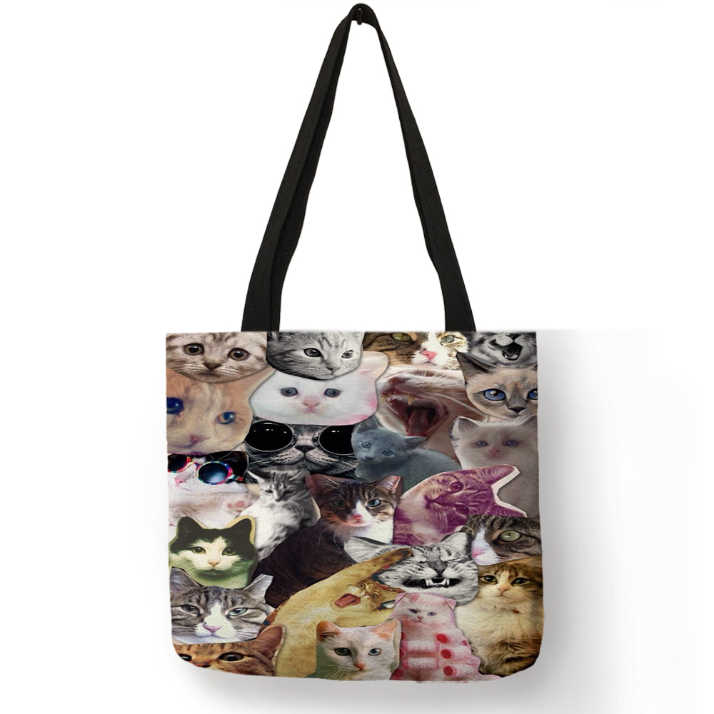 Multi-function Eco Large Casual Grocery Shopping Tote Bag Cartoon 3D Cute Cat Printing Lady Reusable Foldable Daily Hand Bag 5