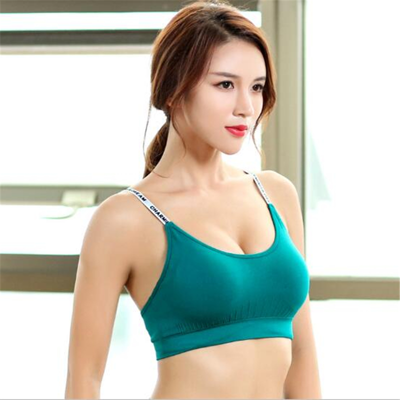 5dd5cbc80433e LISM Women Fitness tops Running top Yoga Sports Bra Including Breast  Implants for Quick drying Comfort push up top Sports Bra-in Sports Bras  from Sports ...