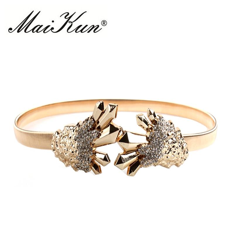 Maikun Thin Belts For Women Wedding Belt Luxury Golden Jeans Cinch Bling Shiny Decorated Rhinestones