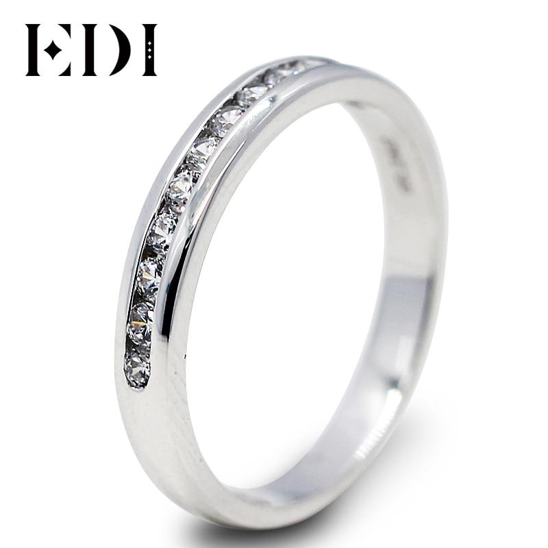 EDI Unique Moissanite Diamond Wedding Ring Real 14k 585 White Gold Wedding Band For Women 0.36ct Diamond Anniversary Match Band цена 2017