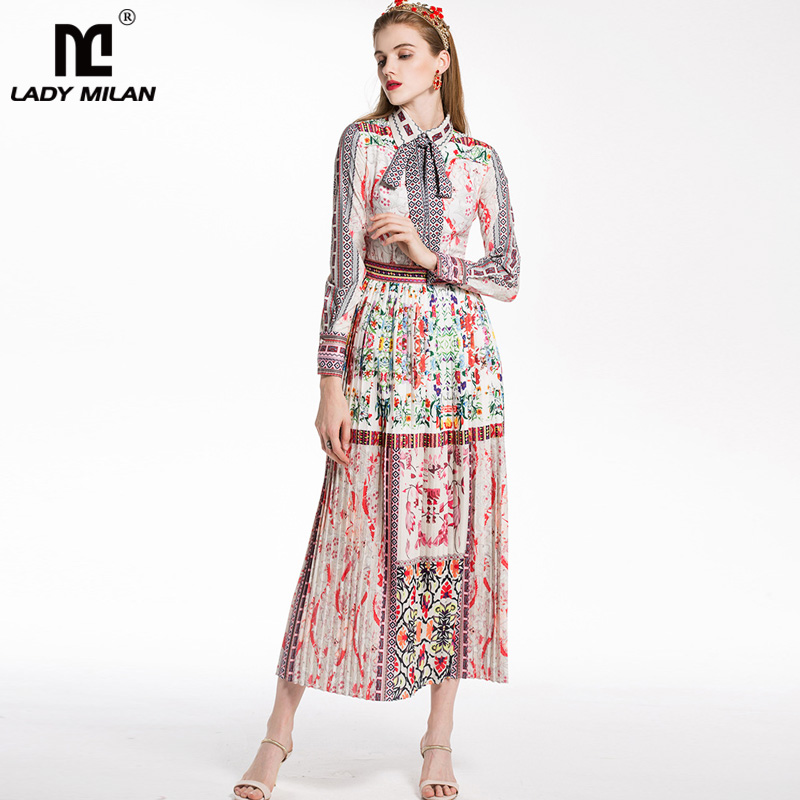 New Arrival 2018 Womens Turn Down Collar Long Sleeves Floral Printed Bow Detailing Pleated Fashion Runway Casual Dresses