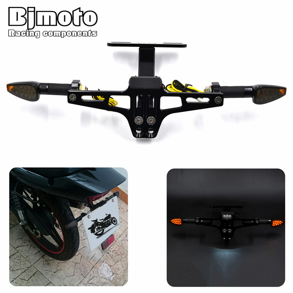 Bjmoto Universal Motorcycle License Bracket Licence Plate Holder Number Plate Hanger Tail Tidy Bracket with Light steering lamp dc 12 24v car rear warning light licence plate lamp tail lamp 12leds car styling round led number plate light