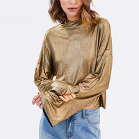 Gold Flare Sleeve O Neck Metallic Cropped Tops For Women Ladies Street Stylish Rock Punk Casual