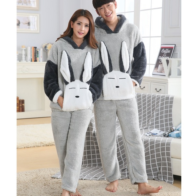 7e61431255 winter Couples Coral Fleece Home Clothing women Animal Pyjamas men pijama  masculino with hat long wool