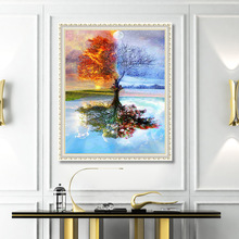 Four Seasons Tree Landscape 5D Diamond Painting Sitting Cross Stitch Kit Full Embroidery Home Decoration Accessories