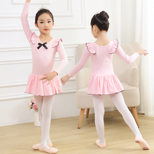 USHINE children girls cotton training dress dance skirt long sleeve ballet suit kids ballet leotard