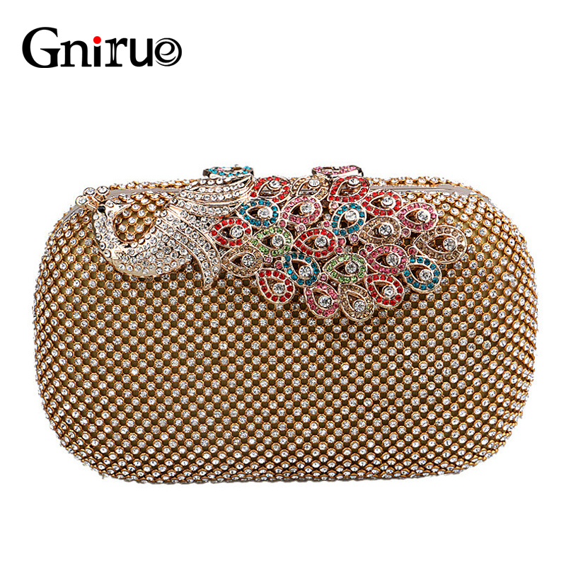 Fashion High-end Peacock Crystal Brick Evening Clutch Bag Luxury Evening Party Women shoulder Wallet Handbags and Purses luxury crystal clutch handbag women evening bag wedding party purses banquet