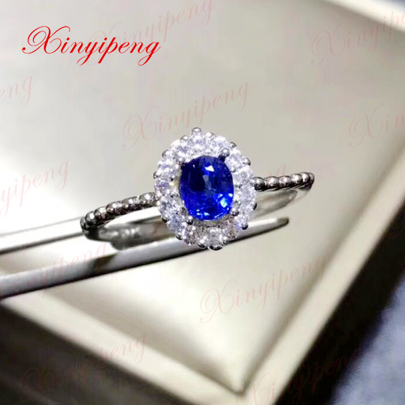 Xin yi peng 925 silver inlaid natural sapphire ring woman ring classic generous anniversary gift браслет 925 3m yi skub012