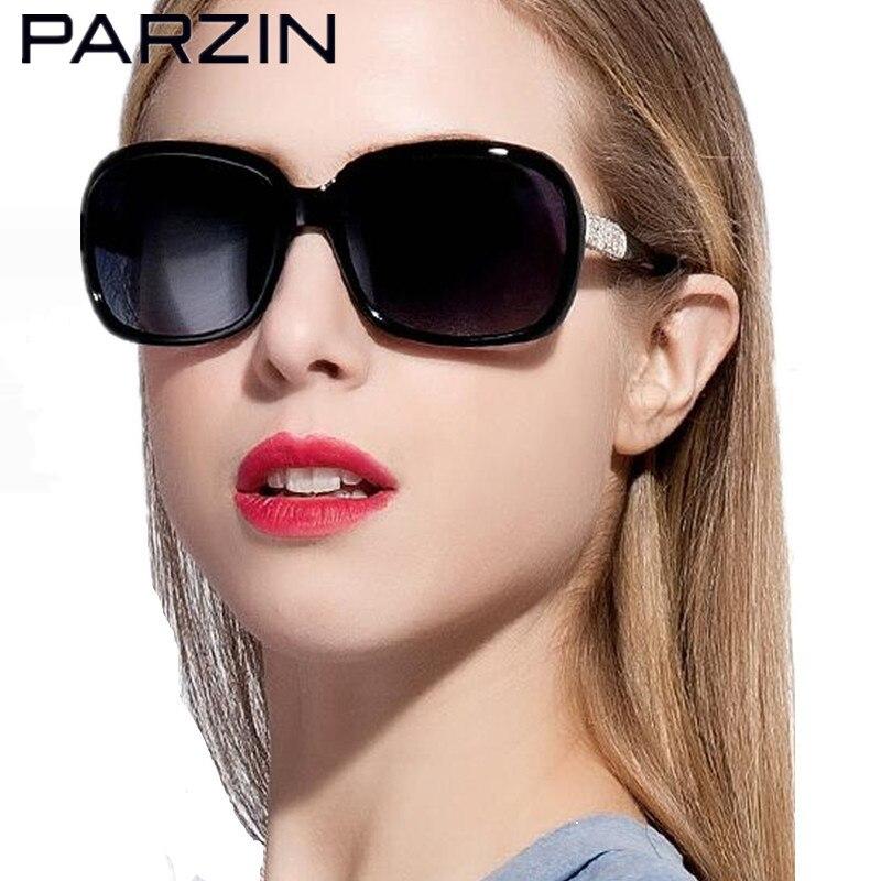 PARZIN 女性サングラス偏光シートエレガントラインストーンの高級サングラス女性のファッションサングラスとケース  グループ上の アパレル アクセサリー からの サングラス の中 1